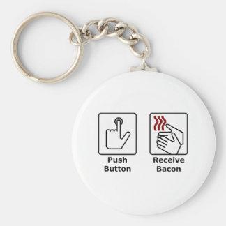 El botón recibe el tocino llavero redondo tipo pin