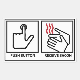 el botón recibe el tocino rectangular pegatinas