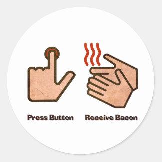 el botón recibe el tocino pegatina redonda