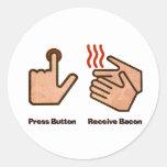 el botón recibe el tocino pegatinas redondas