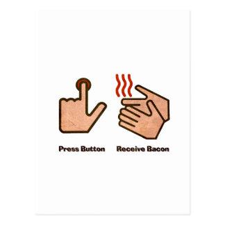 el botón recibe el tocino tarjetas postales