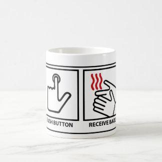 el botón recibe el tocino taza de café