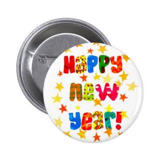 El botón redondo estrellado del Año Nuevo Pin Redondo De 2 Pulgadas