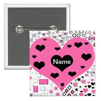 El botón rosado y negro del corazón añade nombre pin cuadrado