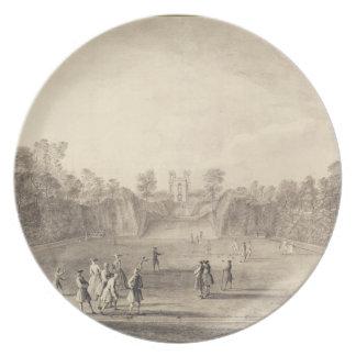 El Bowling Green en Claremont, 1738 (grabado) Plato De Comida