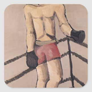 El boxeador grande pegatina cuadrada