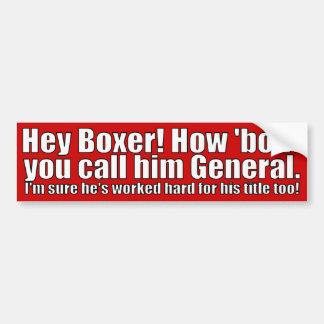 El boxeador lo llama general etiqueta de parachoque