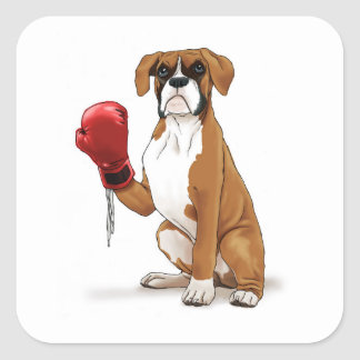 El boxeador calcomanía cuadrada