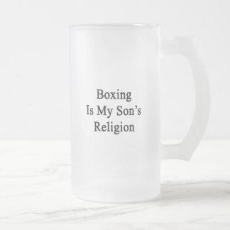 El boxeo es la religión de mi hijo taza cristal mate