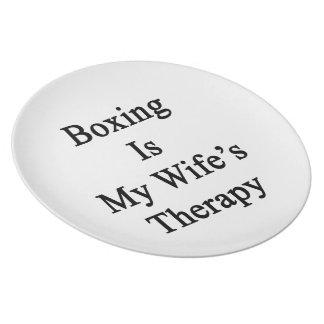 El boxeo es la terapia de mi esposa platos para fiestas