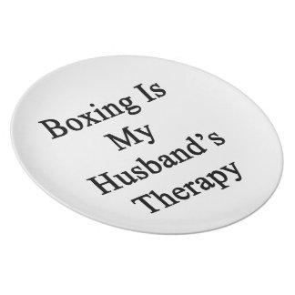 El boxeo es la terapia de mi marido plato para fiesta