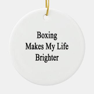 El boxeo hace mi vida más brillante ornamentos de navidad