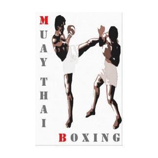 El boxeo tailandés de Muay estiró la impresión de  Impresión En Lienzo Estirada