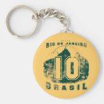 El Brasil 10 Llavero Redondo Tipo Pin