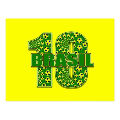 El Brasil 10 - Regalos del futbol del fútbol del n Postales