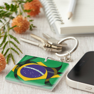 El Brasil 1 Llavero Cuadrado Acrílico A Doble Cara