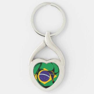 El Brasil 1 Llavero Plateado En Forma De Corazón