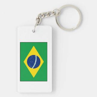 El Brasil - bandera brasileña Llavero Rectangular Acrílico A Doble Cara