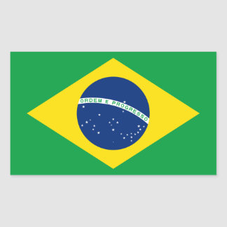 El Brasil/bandera brasileña Pegatina Rectangular