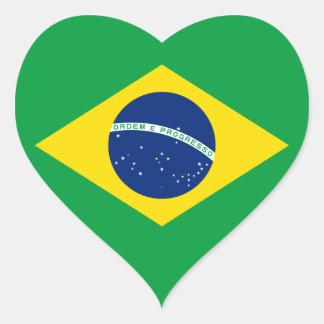 El Brasil - bandera nacional brasileña Pegatina En Forma De Corazón
