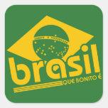 El Brasil Colcomanias Cuadradas Personalizadas