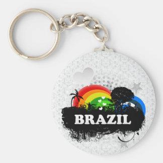 El Brasil con sabor a fruta lindo Llavero Redondo Tipo Pin