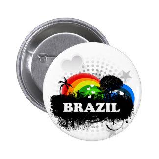El Brasil con sabor a fruta lindo Pin Redondo 5 Cm