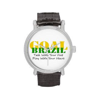 El Brasil - corazón del juego de los pies de la ch Relojes De Mano