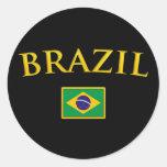 El Brasil de oro Pegatina Redonda