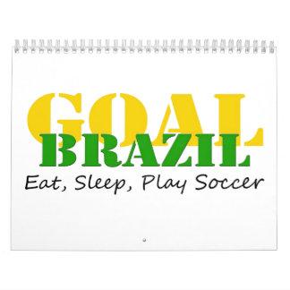El Brasil - fútbol de Eat Sleep Play Calendario De Pared