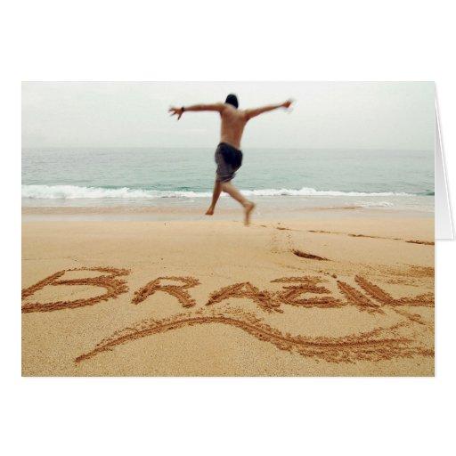 EL BRASIL. Hombre de Barechest que lleva un juego  Tarjeta De Felicitación