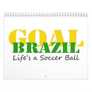 El Brasil - la vida es un balón de fútbol Calendarios De Pared
