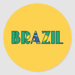 El Brasil Pegatina Redonda