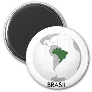 El Brasil (proyección orthográfica) Imán