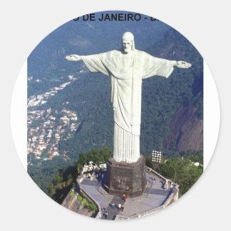 El Brasil Río de Janeiro Cristo (St.K.) Pegatina Redonda
