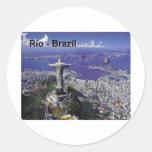 El Brasil Río de Janeiro (St.K.) Pegatina Redonda