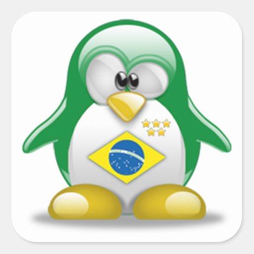 El Brasil Tux Pegatina Cuadrada