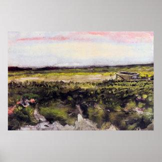 El brezo con una carretilla de Vincent van Gogh Póster