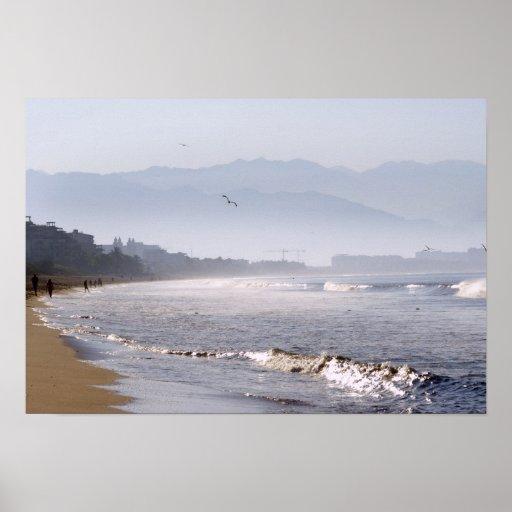 El brillar agita en la playa de Bucerias Póster