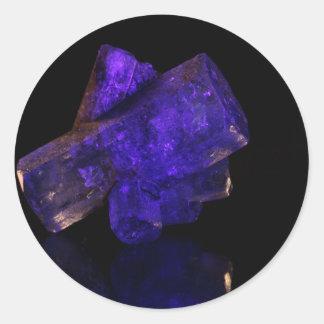 El brillar intensamente azul cristalino pegatina redonda