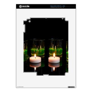 El brillar intensamente de cristal con las velas iPad 2 calcomanías