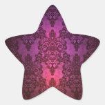 El brillar intensamente profundo elegante damasco pegatinas forma de estrella