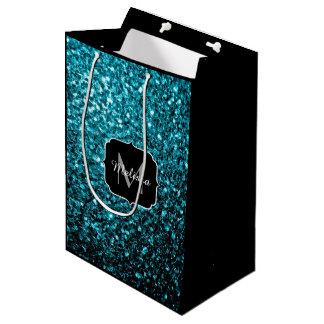 El brillo azul de la aguamarina hermosa chispea bolsa de regalo mediana