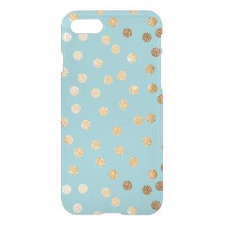 El brillo azul del oro de la aguamarina puntea la funda para iPhone 7