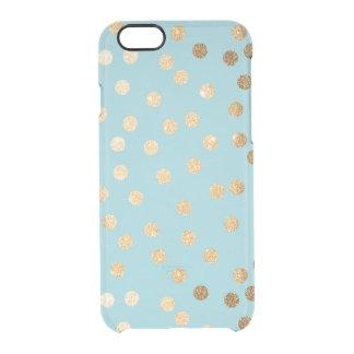 El brillo azul del oro de la aguamarina puntea la funda transparente para iPhone 6/6S
