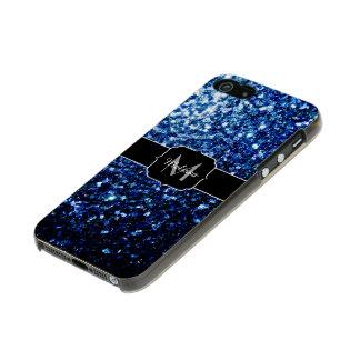 El brillo azul marino hermoso chispea monograma carcasa de iphone 5 incipio feather shine