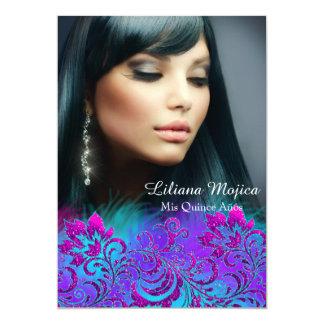 """El brillo azul púrpura rosado Quinceanera floral Invitación 5"""" X 7"""""""
