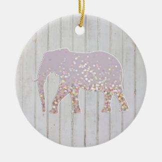 El brillo caprichoso chispea elefante en el diseño adorno redondo de cerámica