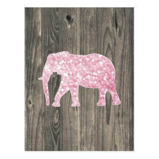 El brillo caprichoso chispea elefante en el diseño postal