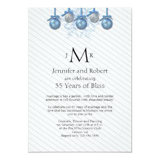 El brillo de plata azul adorna aniversario de boda invitación 12,7 x 17,8 cm